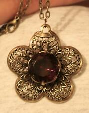 Lacy Filigree Petal Rimmed Flower Faceted Deep Purple Brasstone Pendant Necklace