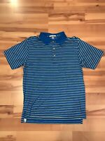 Peter Millar Mens Small Blue and Yellow Stripe Short Sleeve Polo Shirt