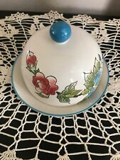 Dutch Wax Domed Dish Butter Cheese Covered Blue Aqua ceramic floral hand painted