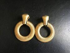 Crown Trifari Vintage Gold Tone Snake Hoop Pendant Clip Earrings