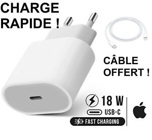 Chargeur Charge Rapide Apple Original USB C 18W Cable iPhone 8 X XS 11 Pro iPad