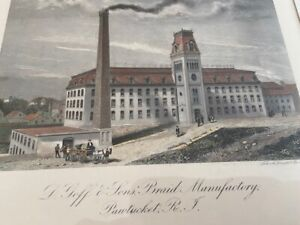 c1850s Pawtucket RI Hand tinted Goff Braid Factory cotton mill engraving