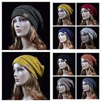 Women's Teen Beanie Cable Knit Plain Cap CC Ski Winter Present Slouch Hat Unisex