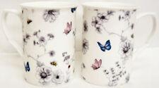 Secret Garden Mugs Set of 2 Bone China Floral Butterfly Mugs Hand Decorated UK