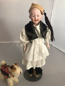 """Antique Bisque Heubach German Laughing Boy Travel Doll 10"""" Cabinet Size"""