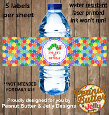 Personalised Hungry Caterpillar Birthday WATER BOTTLE Sticker Label - 5 Per Page