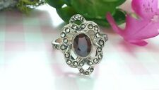 Beautiful Red Garnet Flower Marcasite Ring 925 Sterling Silver *Size 8.5 *V052