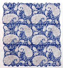 100% Cotton 10 Yard Indian Hand Block Paisley Print Fabric Material Blue Fabric