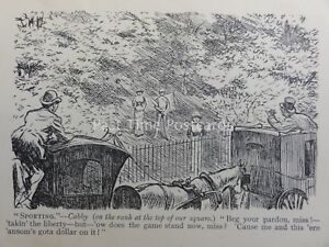 Lawn Tennis Theme SPORTING - CABBY WATCHING LAWN TENNIS Antique Cartoon