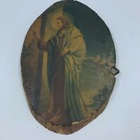 Vintage Jesus Christianity Rustic Picture Wall Wood Slice Plaque Decoupage