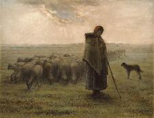 Jean-Francois Millet Reproduction: A Shepherdess and her Flock - Fine Art Print