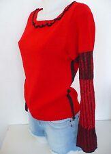 Pull ♥ COP COPINE  ♥ Taille 1 S 34 36 38 rouge et noir matière légère