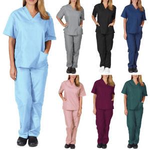 Women Men Scrub Uniform Top Pants Set Medical Hospital Nursing Scrubs V-Neck