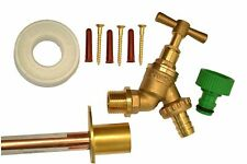 Outside Tap Kit With Through Wall Pipe / Mounting Flange And Garden Hose