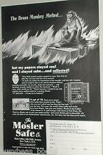 1949 Mosler Safe Co advertisement, fireproof safe, melt your Brass Monkey