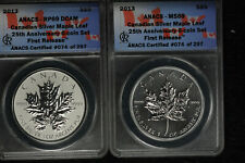 2013 Canada Silver Maple Leaf Unc and Reverse Proof - ANACS MS69 and RP69 DCAM