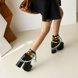 Fashion Women's Printed Shoe Buckle Belted Platform Thick Heel Lace-Up Boots New