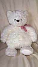 "Hallmark White Teddy Bear with Red Gingham Bow Fuzzy 14"" Tall Plush Animal Soft"