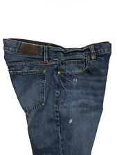 J Crew Mens The Dreggs Blue Jeans Slim Straight Mid Rise Destroyed Size 31x30