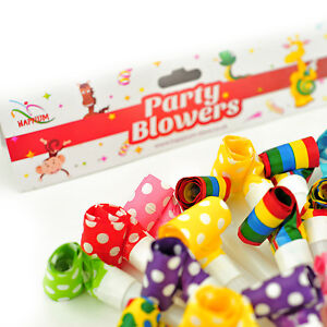 50 Pack of Mixed Party Blowers Blowouts Birthday Loot Bag Filler Noise Toy Kids
