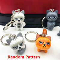 1Pc Funny Animal Unhappy Angry Mad Cat Key Chain Keyring Keychain Decor Gift New