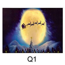 Premier Noël 40cm X 30cm Doux Brille Led Tableau Toile - Q1 Traineau Père Noel
