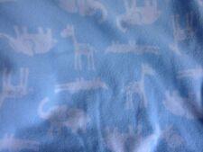 Carter's Blue Fleece Baby Blanket Jungle Animal Print Cotton Reversible White