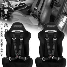 "UNIVERSAL NEW 2X TOW 4 POINT SAFETY HARNESS CAMLOCK 2"" INCH STRAP SEAT BELT BLK"