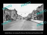 OLD POSTCARD SIZE PHOTO DEKALB ILLINOIS, THE MAIN STREET & STORES c1920