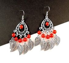 1 Bohemian Tear Drop Pair of Red Agate Gemstone Metal Feather Earrings - # 312