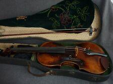 alte sehr schöne Geige Violine 4/4 Zettel, Bogen u. Koffer spielfertig