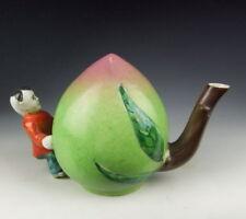 Super Chinese Antique Famille Rose Porcelain Peach-shape Tea Pot