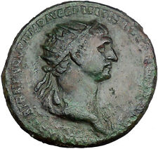 TRAJAN with trophy on either side 115AD HUGE Ancient Roman Tropaion  i33478
