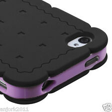 iPhone 4 4S Hybrid Cookie Case Silicone Skin Pastel Cover Black Baby Purple