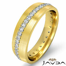 Mens Eternity Ring Round Pave Diamond Wedding Dome Band 18k Yellow Gold 0.50Ct
