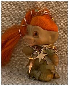 "Athena- Old 2 5/8"" Damm? Wild Orange Hair- Eyes Dressed In A Paper Dress + Stars"