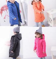 Kids Boys Girls Winter Duck Down Jacket Hooded Coat Long Parka Puffer Outwear