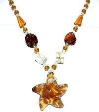 FN197 Yellow w Gold Sparkle Lampwork Glass Clear Bead Star Fish Pendant Necklace
