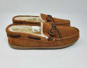 NEW MEN'S  J CREW CLASSIC SUEDE MOCCASIN SLIP ON SLIPPERS IN CARAMEL SUEDE