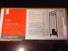 "3 Piece Steel Fireplace Tool Set Black 28.5"" New Broom Poker Shovel Stand"