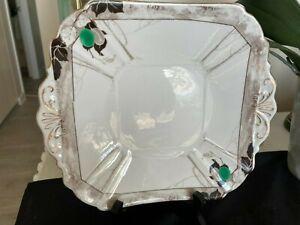 SHELLEY - ART NOUVEAU CAKE PLATE - 11625 - DAMSOM PLUM GREEN A1 CDN - LATE 1920s