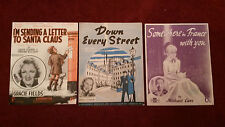 Three WW2 Music Sheets 1930s Somewhere in France, Down Every Street etc        7