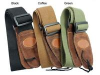 Coffee Adjustable Leather ends Guitar Strap For Electric Acoustic Guitar Bass