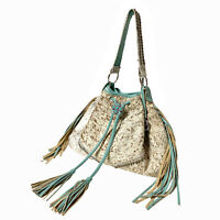 Raviani Fringe Drawstring In Hair on Speckle Cowhide & Turquoise Leather Trim