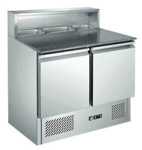 Pizzakühltisch Saladette PS900 mit 2 Türen, Granitplatte und Edelstahlaufbau