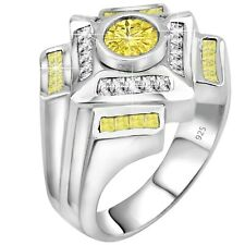 Men's Real Sterling Silver .925 1.75 Carat Canary Yellow CZ Ring w/Gift Box 6-13