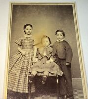 Antique American Civil War Era Victorian Fashion Siblings Charlestown CDV Photo!