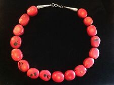 Vintage sterling Silver Clasp Red Coral Necklace 6oz 17 sliced beads Milk Tested