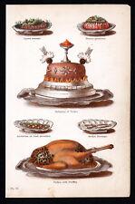 LYONS SAUSAGE - GALANTINE OF TURKEY - COOKERY - MRS BEETON 1869 WOOD ENGRAVING