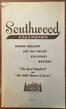 Southwood 1938 Golden Firelight Bas-Relief religious calendar sales sample